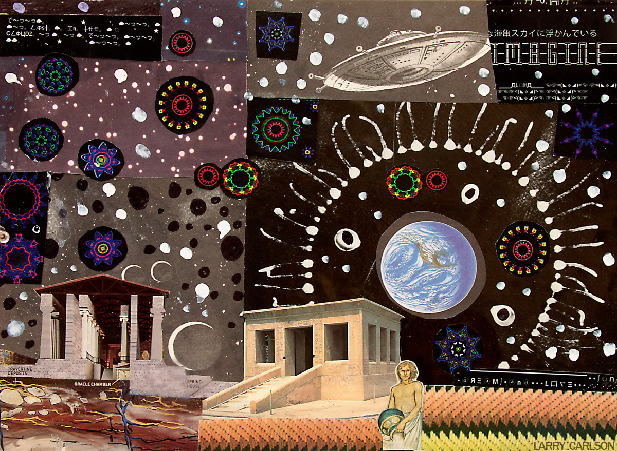 LARRY CARLSON, Oracle Chamber, collage and paint on paper, 8in x 10in., 2012.