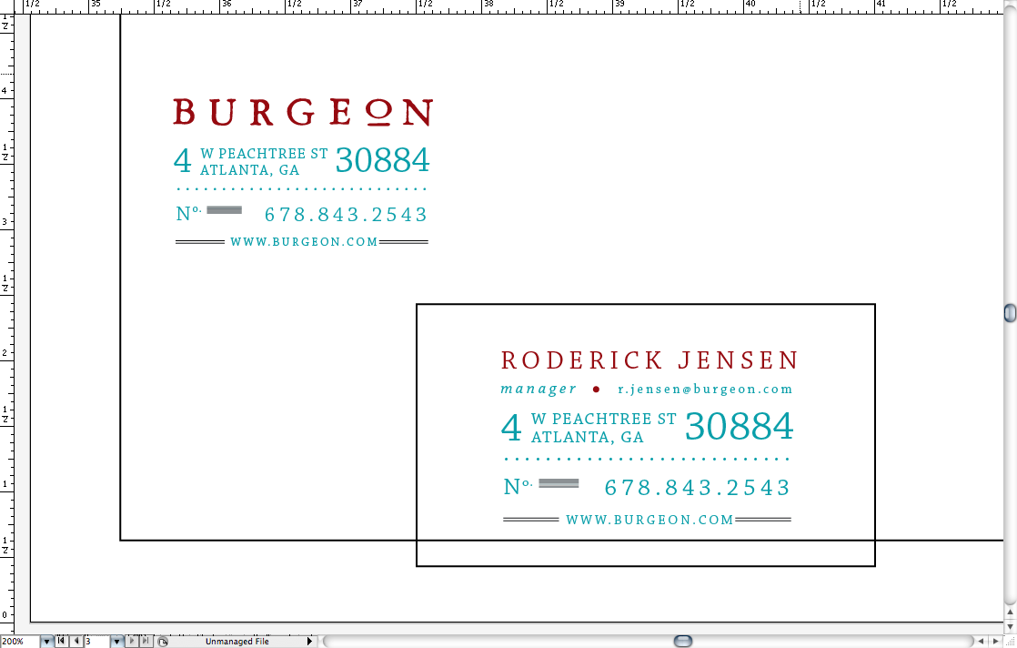 Workin' on some identity stuff for our made-up company.  Threw this together in ten minutes at 7:00 in the morning today. Ended up being the best-ish one out of three. Still needs work, logo ain't kerned yet, colors aren't final, but you get the idea.