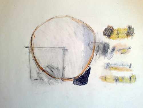 "dailyartjournal:  Jai Llewellyn, ""Philosophical Geometry"", Pencil & oil pastel on newsprint"