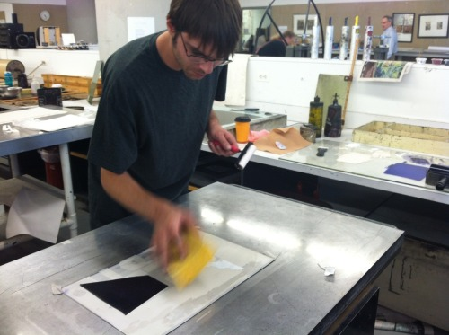Brian prints away at fake litho.