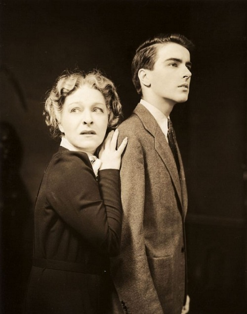 Alla Nazimova & Montgomery Clift in publicity still for the Broadway production of The Mother (1939) (via)