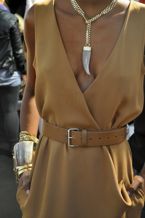 gold + camel = the only way to make gold understated and chic