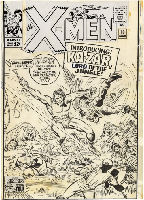 browsethestacks:  Original Art - X-Men #10 Cover (Unpublished Alternate Cover) by Jack Kirby And Chic Stone