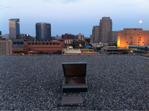 My rooftop view and escape hatch from tonight's shoot.