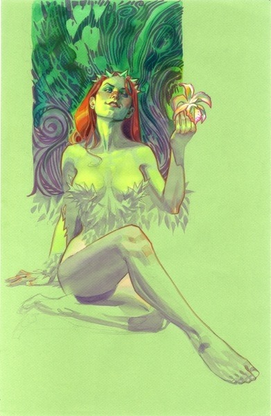 fyeahpoisonivy:  [Image: A full color illustration of DC comics character Poison Ivy. She is shown seated on the ground with her legs stretched out and pointed at the viewer. She is holding up a flower up in one hand and looking at the viewer with an upturned nose and a smirk.] Poison Ivy by Brian Stelfreeze