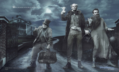 Jack Black, Jason Segal and Will Ferrel as the Hitchhiking Ghosts from Disney's Haunted Mansion for Disney's Dream Portrait series by Annie Leibovitz.