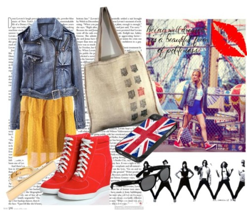 London to NY by vividblueprint featuring yellow gold jewelryJean jacket / Red wedge / Giuseppe Zanotti yellow gold jewelry / Tech accessory / Ray-Ban ray ban eyewear