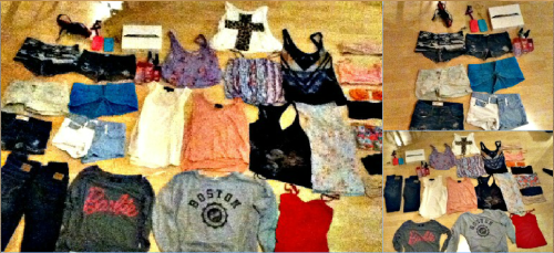 d-r-i-n-k-t-o-t-h-a-t:  MASSIVE GIVEAWAY!!!!!  I went through my closet and am giving away everything i don't wear anymore or what doesn't fit me  Sorry for the bad quality pictures.. my good camera broke..  RULES  must be following http://d-r-i-n-k-t-o-t-h-a-t.tumblr.com/ and http://caitlin-smith99.tumblr.com/ ; we will be checking You can reblog or LIKE as much as you wish I will ship worldwide  Winner will be picked August 20th 2012  NO bribing Must reach at least 1000 notes                                                                                              ** I will be choosing using this random name selector **  CONTENTS:  BANDOS  burgundy lace bando//size small//from urban outfitters  grey lace bando//size small//from urban outfitters  peach bando//size small//from urban outfitters  nude colour bando//size medium//from forever 21  floral bando//size medium//from forever 21  pink bustier bando with straps//size small//from aritzia  gold bando//size small//from topshop   BOTTOMS  dark hollister jeans//size 1  dark abercrombie&fitch jeans//size 1  ripped abercrombie&fitch shortshorts//size 1  ripped hollister shorts//size 1 turquoise shorts//size 1//from forever 21  white&jeans shorts//size 1//from forever 21  green highwaisted shorts//size 1//from pull&bear  aztec black&white shorts//size 1//from topshop  TOPS  boston university pull-over//size small//from forever 21  barbie pull-over//size small//from forever 21  white tank top with zippers on side//size small//from topshop  pink tank top//size meduim//from topshop  eagle tank top//size small//from topshop  blue floral tank top//size small//from pull&bear  american flag design black tank top//size medium//from berska aztec print tank top//size small//from garage  purple floral tank top//size small//from aritzia  bustier pink tank top//size small//from aritzia  cheetah cross tank top//size small//from gojane  OTHER  love pink perfume//full size//scent charming&fun love pink beach body mist//full size//scent beach babe love pink perfume//small size//scent warm&cozy  justin bieber nail polish//color my life saver (turquoise)  justin bieber nail polish//color prized possession purple (dark purple)  large purple cross necklace  medium gold cross necklace  gold cross double finger ring red chi flat iron  pink blackberry curve phone case//from TNA  blue iPod touch 4 case//from TNA  iPad 2  I got a newer version of the iPad so I decided my followers deserve to have it because I dont need it! (Its brand new still though— not out of the box)
