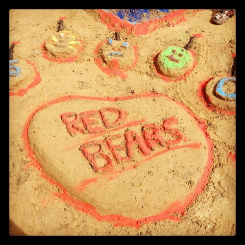 our sandcastle from the competition yesterday… go red bears! #KiwiOlympics2012 (Taken with Instagram)
