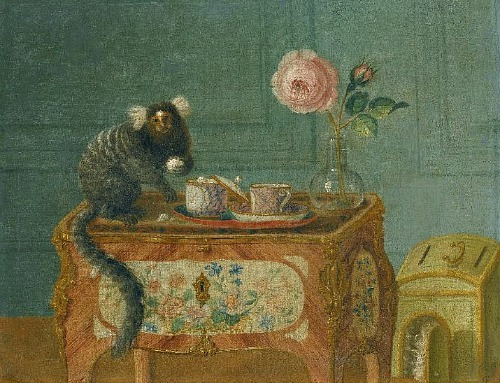 Attributed to Louis Tessier Marmoset Taking Sweets on a Painted Commode 18th century