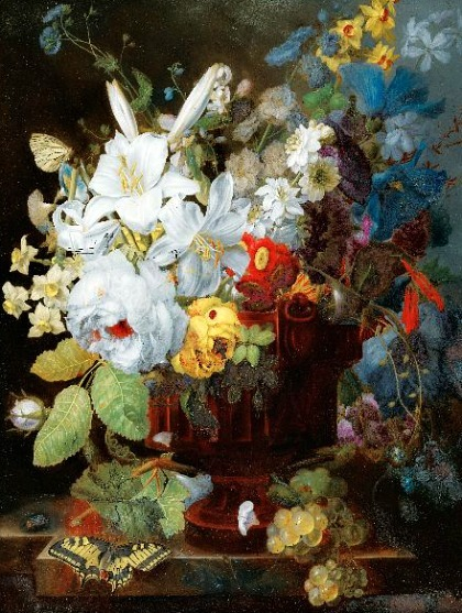 stilllifequickheart:  George Frederik Ziesel Still Life with Flowers 1784