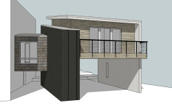 F Street Addition Spokane, WA. In Construction. This is a new master suite and carport addition for some dear friends in Spokane, now in construction. The addition will attach via an enclosed bridge to the main level of their home, with a set of stairs leading down to the open carport below. You can follow the owner's construction sequence photos here. Structural Engineer: Swenson Say Faget