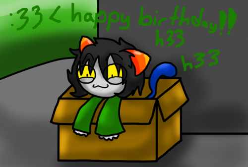 skywarriorkirby:  Happy Birthday to askcr33pernepeta/nani! ~  Hope you enjoy my terrible try at drawing cr33per!nep ;w;""