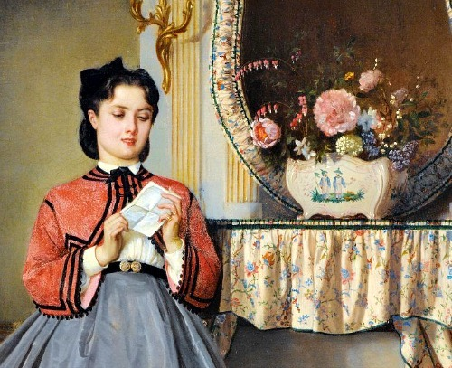 stilllifequickheart:  Auguste Toulmouche The Love Letter, detail 1863