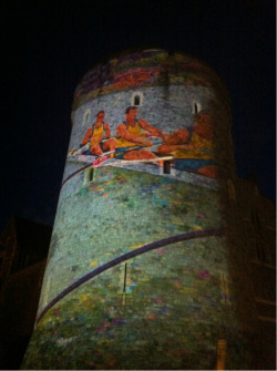 Images of international rowing projected on to the turrets of Windsor Castle during the night. Windsor is the nearest town to Eton Dorney Lake, the venue for the London 2012 Olympic Rowing.