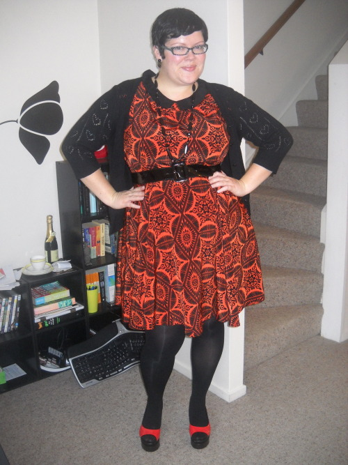 Why yes, those are bright orange platform shoes I'm wearing! dress - Dorothy Perkins, cardi - Glassons, belt - from Bettie Page Clothing dress, tights - Walmart, shoes - Shanghai, China, necklace - Suzy Shier, earrings - diva