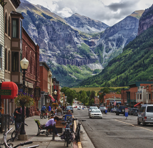 "barnwoodanchors:  Telluride, Colorado, where I listened to James Taylor sing ""You've Got a Friend"" live while drinking a beer, gazing at these mountains, and trying not to shiver from the crisp air characteristic of late Summer evenings at 8750 ft."