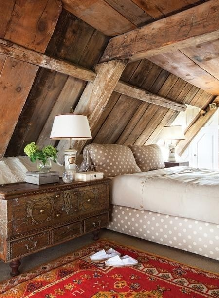 rustic attic bedroom idea with a treasure island nightstand