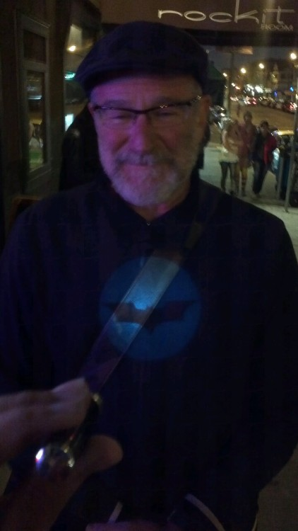 comediansasbatman:  Robin Williams is the goddamn Batman.  Robin Williams by Valorie Austin. Hanging outside Dirty Trix (nee Holy City Zoo).