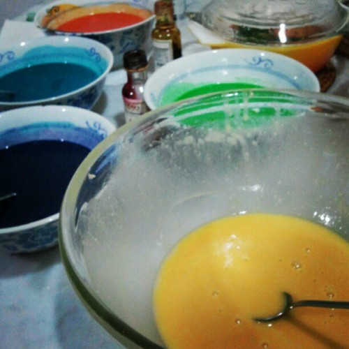 Laura's 16th! Pretty colours; rainbow cake in the making. (Taken with Instagram)