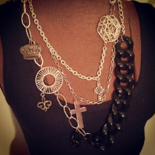 My chain and charm extravaganza. No 2 alike. #jewelry #art #design  (Taken with Instagram)