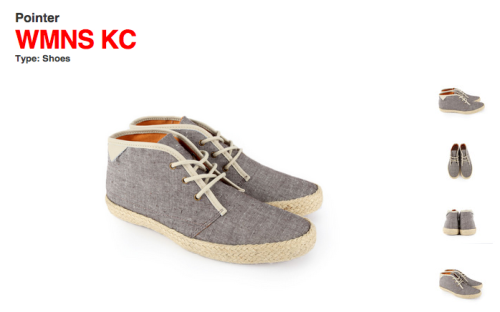 Pointer Footwear : Chambray upper / Rope sole / Brass lace eyelets / Leather piping  Woot.  (via Boston's mighty Bodega blog)