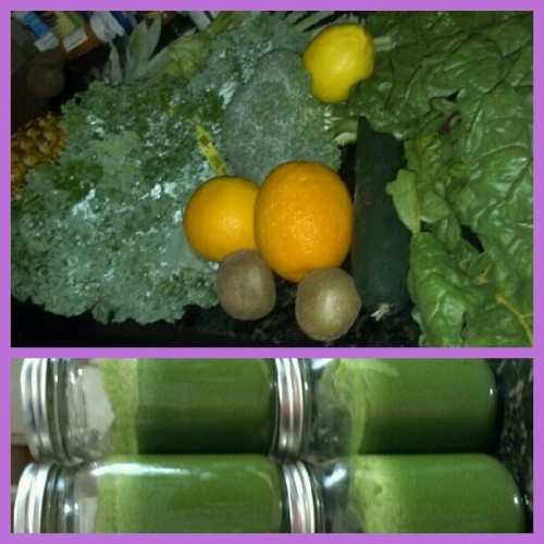 Back to my old waYZ / #GreenMachine - #kale #chard #celery #broccoli #cucumber #orange #kiwi #pineapple #lemon. #juicing #juicehappy #juicehead #greenjuice #gogreen #fruits #veggies #organic #foodporn #nofilter (Taken with Instagram)