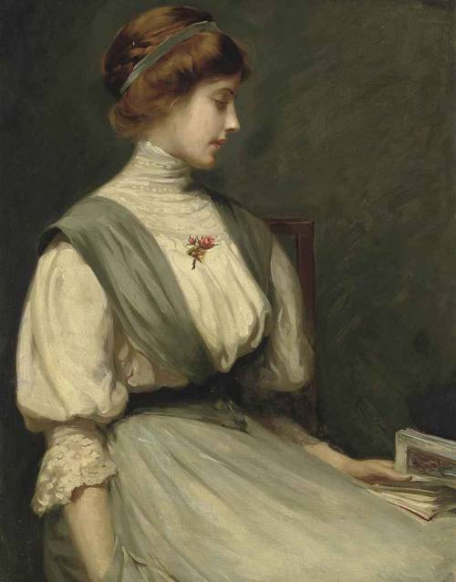Portrait of Nora Allen, seated half-length, reading a book, William Mainwaring Palin. English (1862 - 1947)