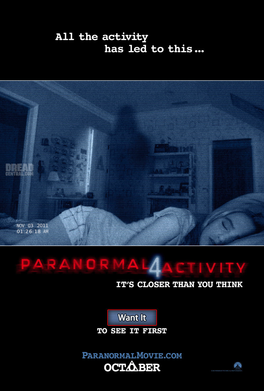 First official poster for Paranormal Activity 4