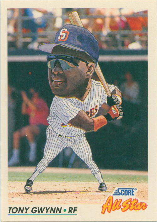 thecardmuseum:  1992 Score All Star Tony Gwynn  Wow I think I had this card too.  They really don't make cards like this anymore.  In fact, do they even make cards anymore AT ALL?  I don't know how I feel about that - my kids growing up without thousands of baseball cards all over their rooms…. Actually, maybe that's a good thing.