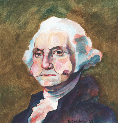 presidentswithboobfaces:  George Washington with Boob Cheeks Water color on Paper  2012  This is an entire Tumblr. Happy Monday!