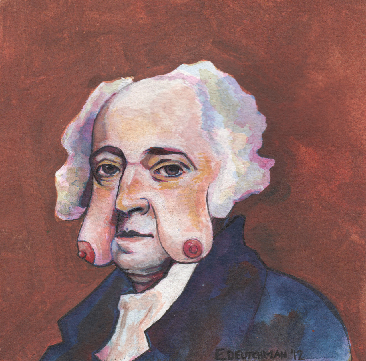 presidentswithboobfaces:  John Adams with Boob Jowells Water color on Paper  2012   Never thought boob & jowells would stand side by side