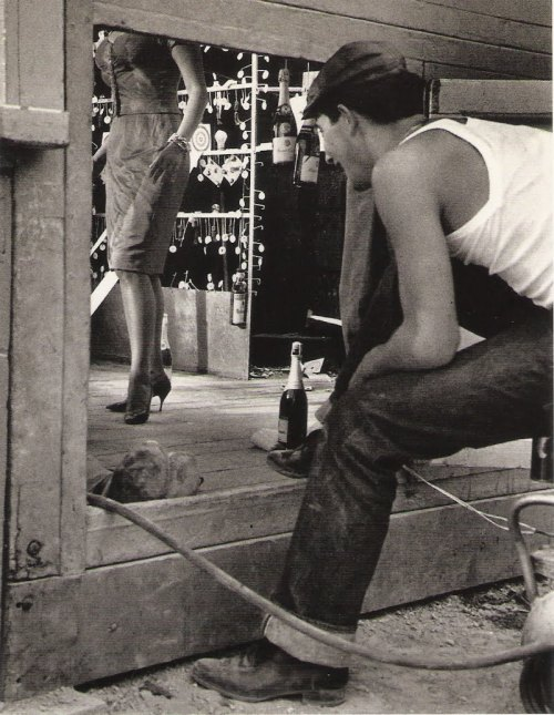annasintervals: John Phillips. A young admirer of Sophia Loren watches the shouting of a scene from Fellini's Boccaccio 70. 1962.