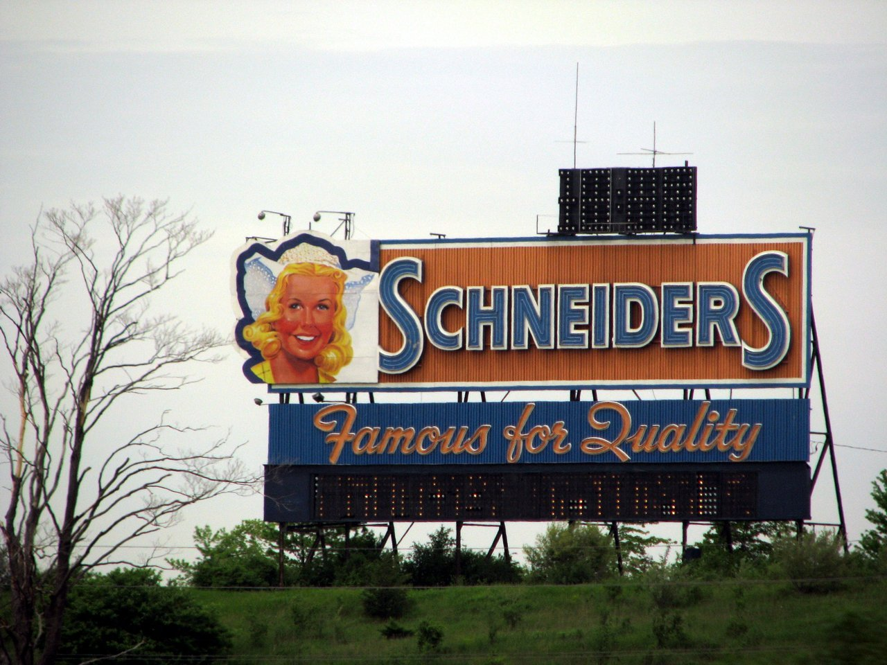 "I wonder what's going to happen to the iconic Scneiders sign beside the 401 when Schneiders finally closes its doors.  The ""Dutch girl"" has been smiling down at me my whole life (or at least as long as I've been sentient), they can't just scrap her."