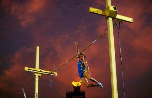 polevault:  Pole vault across the crosses Credits: Mike Hewitt