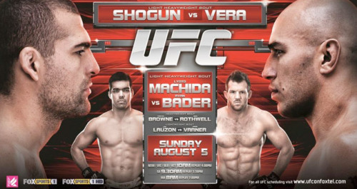 UFC on FOX this Saturday. I'm calling RUA and Machida.