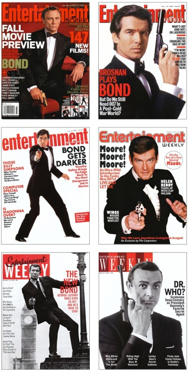 newmanology:  All six James Bond actors on faux retro covers of Entertainment Weekly, from 2010Design director: Geraldine Hessler  Source: SPD