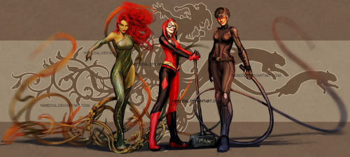 Supurb Poison Ivy, Harley Quinn and Catwoman image by Stjepan Sejic Artist of Witchblade and Artifacts - http://nebezial.deviantart.com/gallery