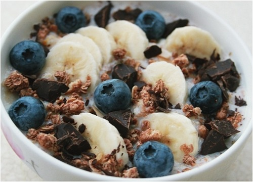 Granola, Chocolate Chunks and Blueberries in Milk