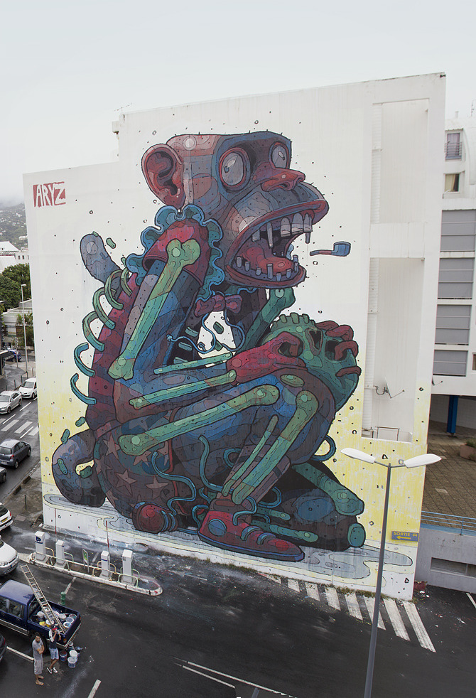 MONKEY BUSINESS 2012 . ST. DENNIS, REUNION ISLAND By Barcelona-based graffiti/street artist ARYZ  *photo from ARYZ website