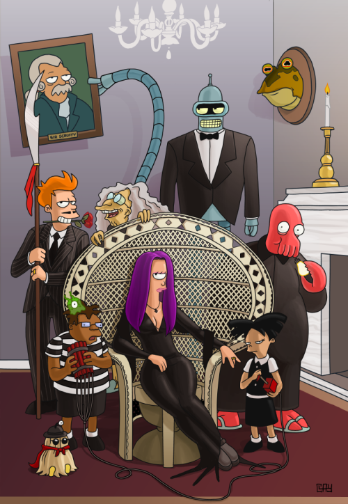 clayyount:  Futurama/Addams Family mashup!  There's really nothing to not love about this.