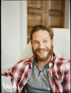2012 | Tom Hardy for BLAG's 20th Anniversary Special Edition blagmagazine:   Here's a super exclusive photo of Tom relaxing on set during our 20th Anniversary photo session.  Photography: Sarah J. Edwards // On location at: The Arts Club, Mayfair London