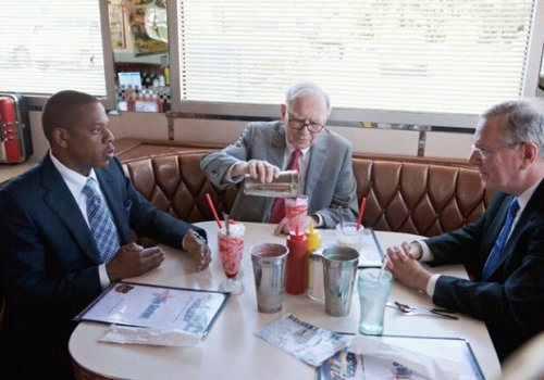 Just Jay-Z, Warren Buffett, and Steve Forbes discussing business over milkshakes.