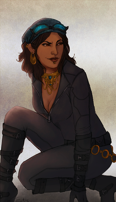 spicyshimmy:  estic:  Someone requested Isabela a while back, and I also got one for Batman, so this happened.   She was the Siren, and she left a calling card—black, with a skull and crossbones, very old school.  If she'd been less generous, she could have taken strings of pearls and replaced them with the black spot. But she was no murderer, just a magpie, who deserved pretty things that were all stolen at the start—only she was honest about the stealing part of the equation. Then, the city was hers, racing lighter than a cat along the Hightown rooftops, the salt air and the quick breeze almost enough to make her feel as though she was a sail unfurling, a knot untying itself, without anchor, without end.  It wasn't about flying, not at all. It was about being as free as a shadow at night—because there were no shadows at night, or because there were only shadows.  'When the Kirkwall City Siren comes to call,' Commissioner Vallen would say, hard of jaw but not always of heart, both hands braced against the desk in her office, 'we will be ready for her.' 'Nobody's ready for me,' Isabela would reply, fading back into the shadows that held her as close as she held her shiny little treasures.  On nights when the Champion patrolled the streets, it was a different story. She watched with Lyrium Ghost as their caped crusader met with the city's latest threat—not trying to be a hero at all, but trying to be a martyr.  'The feathers on the costume are a bit much, though,' Isabela said. She wasn't the cat—Lyrium Ghost was, a twitch of his fingers like the flick of a tail. 'What is this city coming to?' 'Thieves and scoundrels to be found around every corner,' Lyrium Ghost replied, his voice as dry as his humor.  'Well, I'd love to stay and chat—' Isabela adjusted her goggles, spotted her next grip, and braced herself against solid ground. Every jump lean and impossible as a shadow itself. '—but I've a Champion to bother.'  #the dark hawke rises