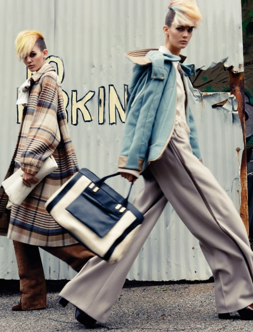 "collections-from-vogue:  Kendra Spears, Iris Van Berne & Melissa Stasiuk in ""Future Revival"" Photographed by Claudia Knoepfel & Stefan Indlekofer & Styled by Nicola Knels for Vogue Germany, July 2012"