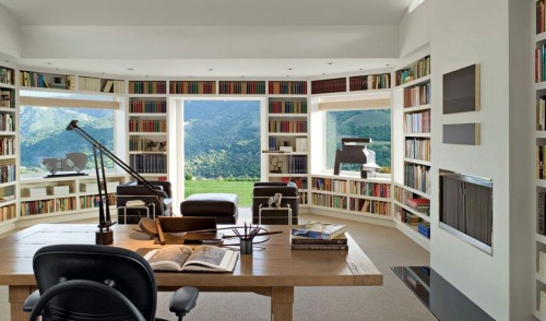 simpledesks:  A Beautiful Mountainous Retreat: Wow. Those views must be an amazing inspiration - no wonder the desk faces outwards.  Original source: Unknown, via Dying of Cute.