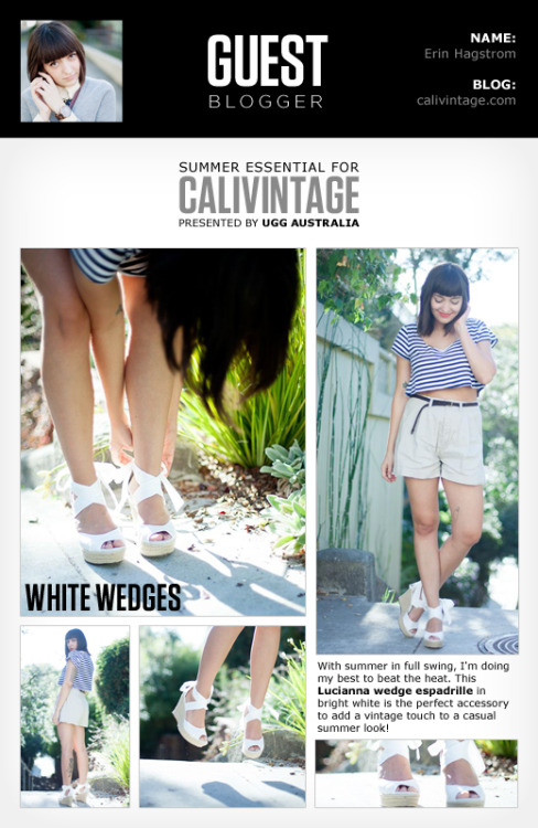 Check out how Erin, from Calivintage pairs one of our favorite summer essentials: the Lucianna wedge.