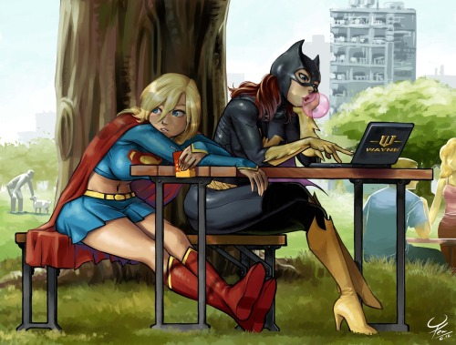 fumettidccomics:  herochan:  Turn Off SuperGirl: Am I missing something? Why everybody naked today?BatGirl: Turn off your x-ray, girl. Created by agustinus kwa hong yen  ,   So adorable. Man, this ALMOST makes me want to give Babs heels.