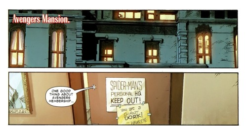comicpool:  Spidey's room in the Avengers Mansion