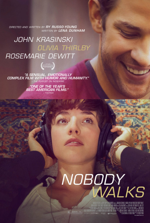 posterpark:  NOBODY WALKS Director: Ry Russo-Young Writers: Ry Russo-Young, Lena Dunham Stars: Jane Levy, Rosemarie DeWitt and John Krasinski Synopsis:  Martine, a 23-year-old artist from New York, arrives in Los Angeles to stay in the pool house of a family living in the hip and hilly community of Silver Lake. Peter, the father, has agreed to help Martine complete sound design on her art film as a favor to his wife. Martine innocently enters the seemingly idyllic life of this open-minded family with two kids and a relaxed Southern California vibe. Like a bolt of lightning, her arrival sparks a surge of energy that awakens suppressed impulses in everyone and forces them to confront their own fears and desires.   yay :) can't wait to watch it just to see my hubby :)